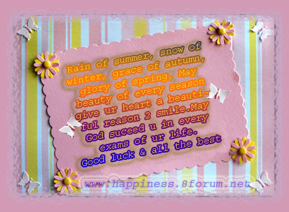 Amazing Happiness Regard To Exam Best Wishes Cards