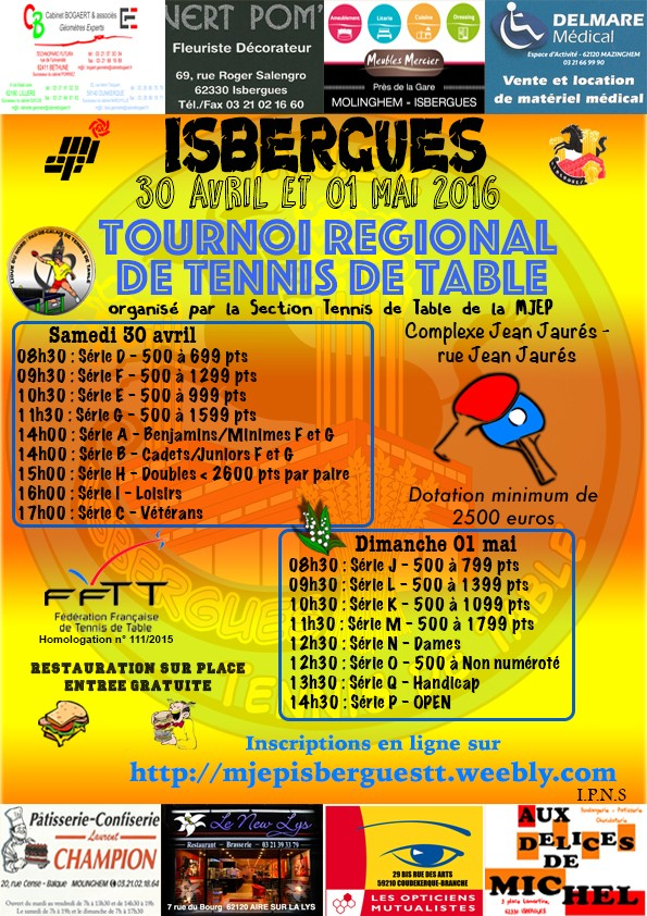 Tournoi regional mjep isbergues 30 avril 1er mai 2016 - Ligue nord pas de calais tennis de table ...