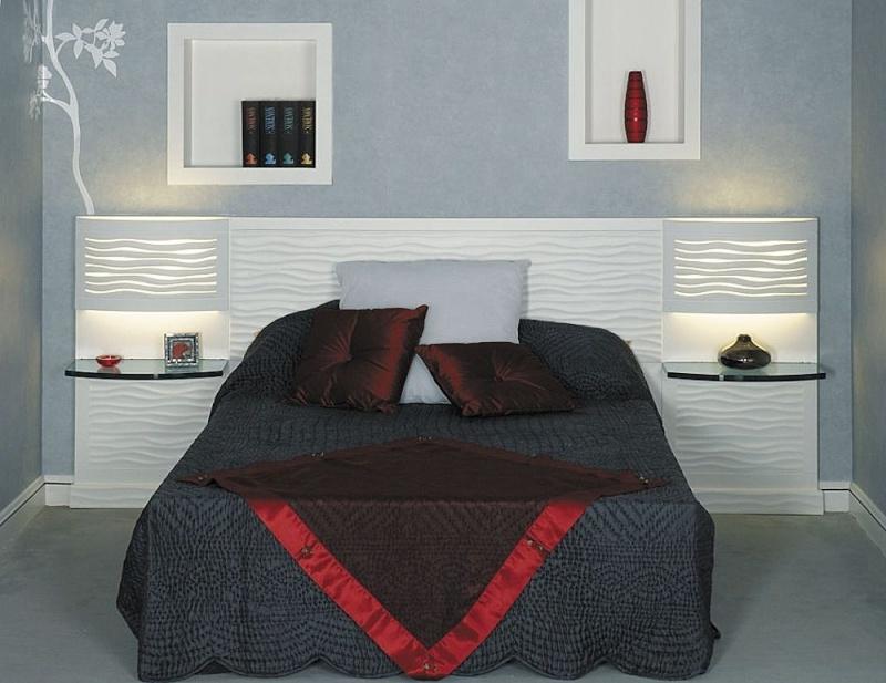 D coration d 39 une petite suite parental avec salle de bain for Tete de lit en carrelage