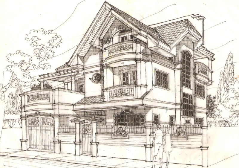 Series residential 2d sketches for 2d building drawing
