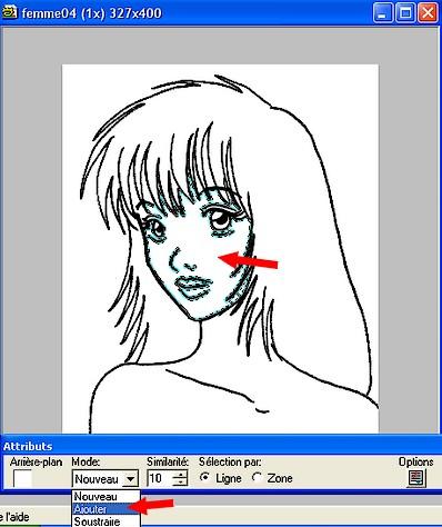 Sélectionnez les parties du dessin à colorer