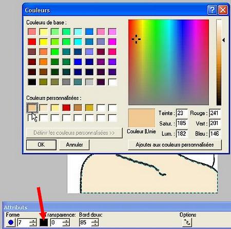 Sélectionnez la couleur de l'Aérographe pour mettre en place les ombres