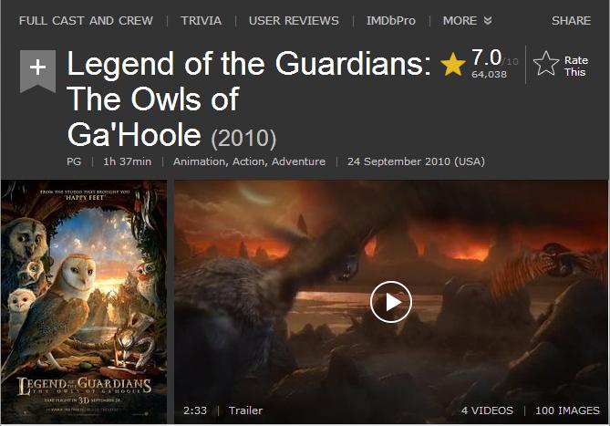 فيلم الاينمي والاكشن والمغامرة الرهيب Legend of the Guardians مترجم بنسخة البلوري