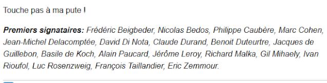 Les premiers signataires du manifeste des 343 salauds dont Jérôme Leroy.