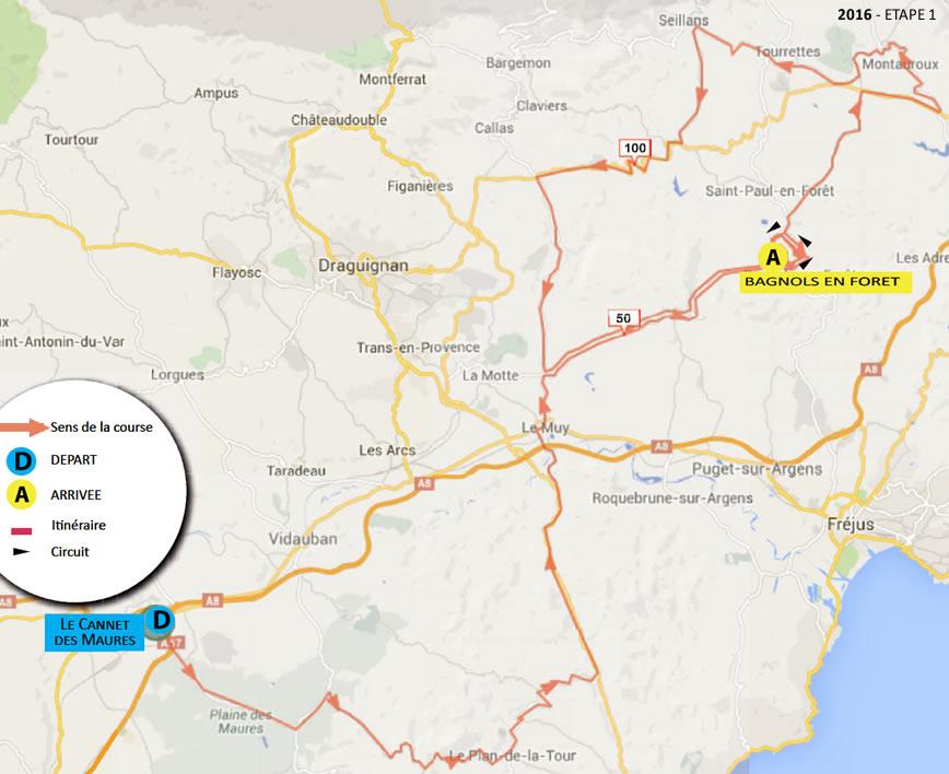 planimetria 2016 » 48th Tour Cycliste International du Haut Var-matin (2.1) - 1a tappa»Le Cannet des Maures › Bagnols en Forêt(155 km)