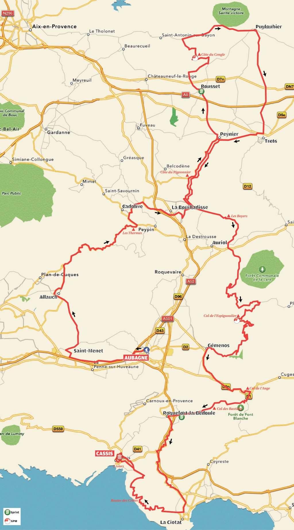 planimetria 2016 » 1st Tour Cycliste International La Provence (2.1) - 1a tappa » Aubagne › Cassis (169 km)