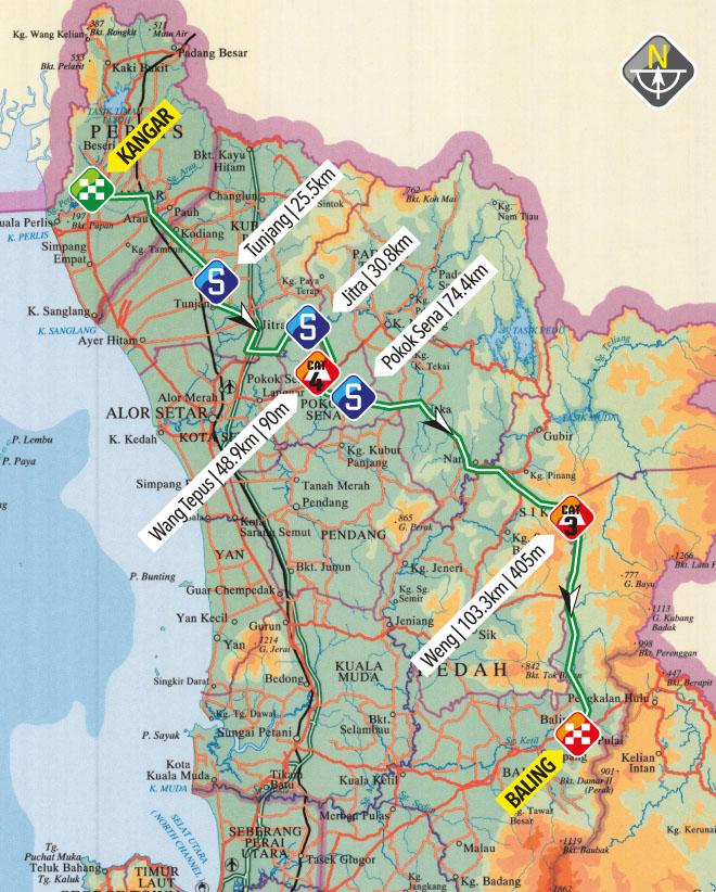 planimetria 2016 » 21st Le Tour de Langkawi (2.HC) - 1a tappa»Kangar › Baling (165.5 km)