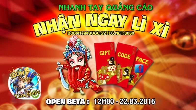 12h00 22/03/2016 - open BOOM TAM QUỐC- WEBGAME PRIVATE FREE 999 TRIỆU KNB.