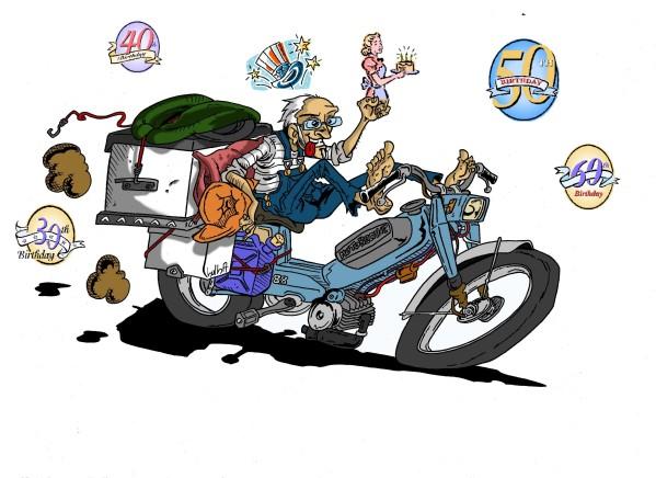 Bon anniversaire sachin - Dessin motard humoristique ...
