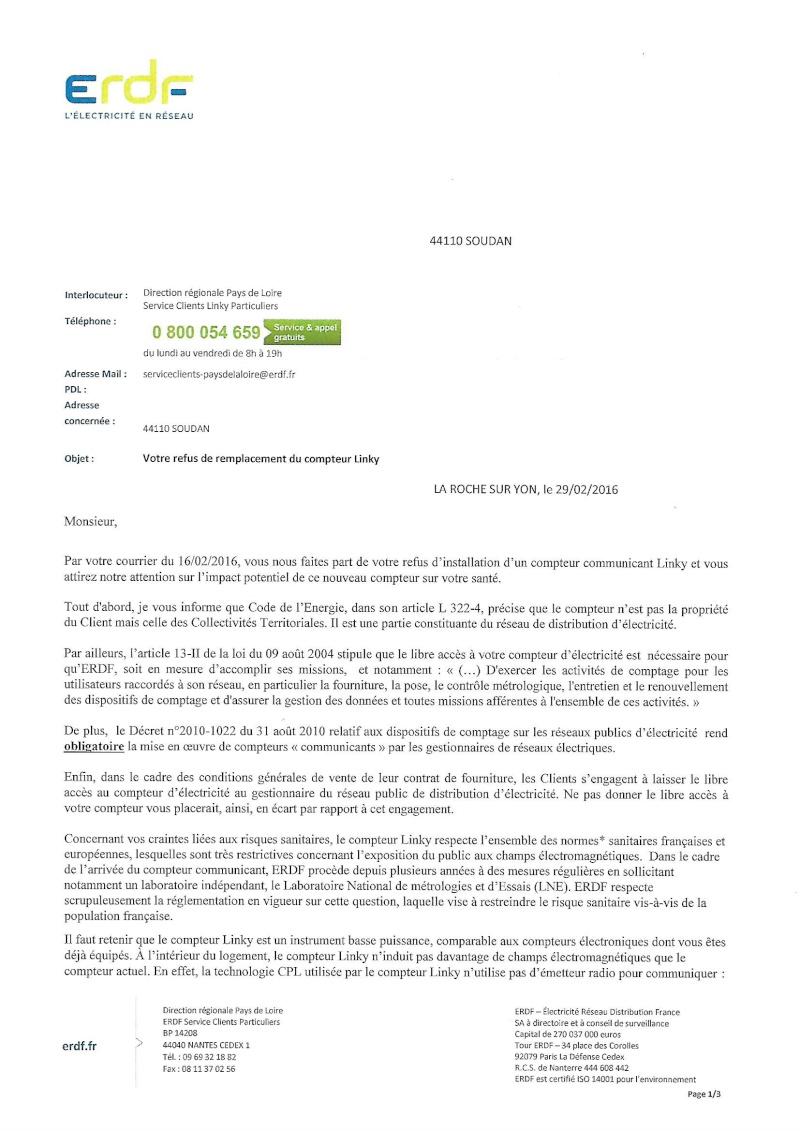 courrier re u ce jour 03 03 2016 d 39 erdf apr s l 39 envoi du refus en recommand. Black Bedroom Furniture Sets. Home Design Ideas